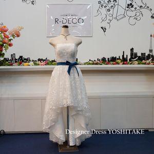 48c067fa97ed5 ウエディングドレス(パニエ無料) 前あきレースミモレ丈ドレス 前撮り 二次会