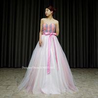 ピンクのチェック柄のドレスを作りました。