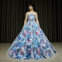 ブルーの花柄ドレスを制作しました