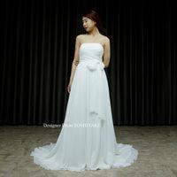 白いシフォン生地のスレンダードレスを作りました。