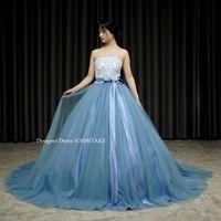 くすみブルーのドレスを作りました。
