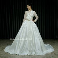 白いサテン&レースの挙式ドレスを作りました。