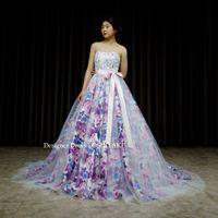 パープル花柄のドレスをつくりました。