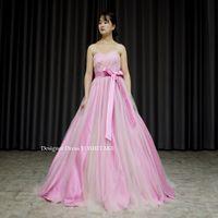 ピンクサテンとピンクオレンジチュールのドレスを作りました。