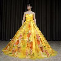 オレンジ花柄と黄色系をまぜあわせドレスを作ってみました。