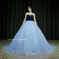 2カラーのブルのプリンセスドレスを作りました。