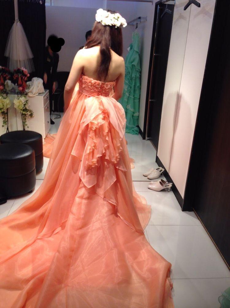 お色直しカラードレス 元気なナチュラルオレンジ