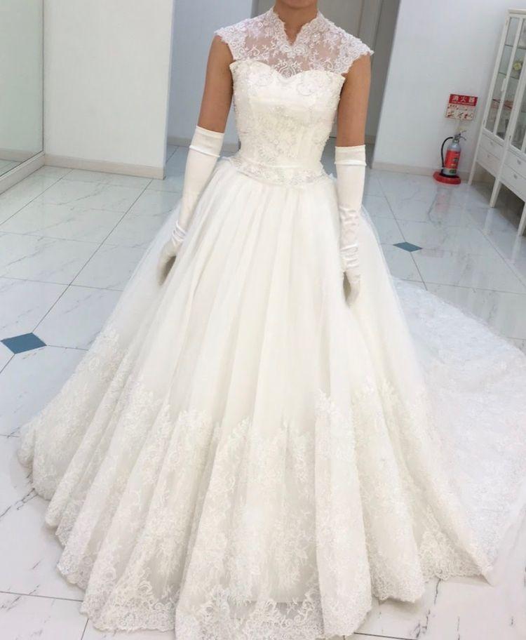 柔らかい印象のウェディングドレス