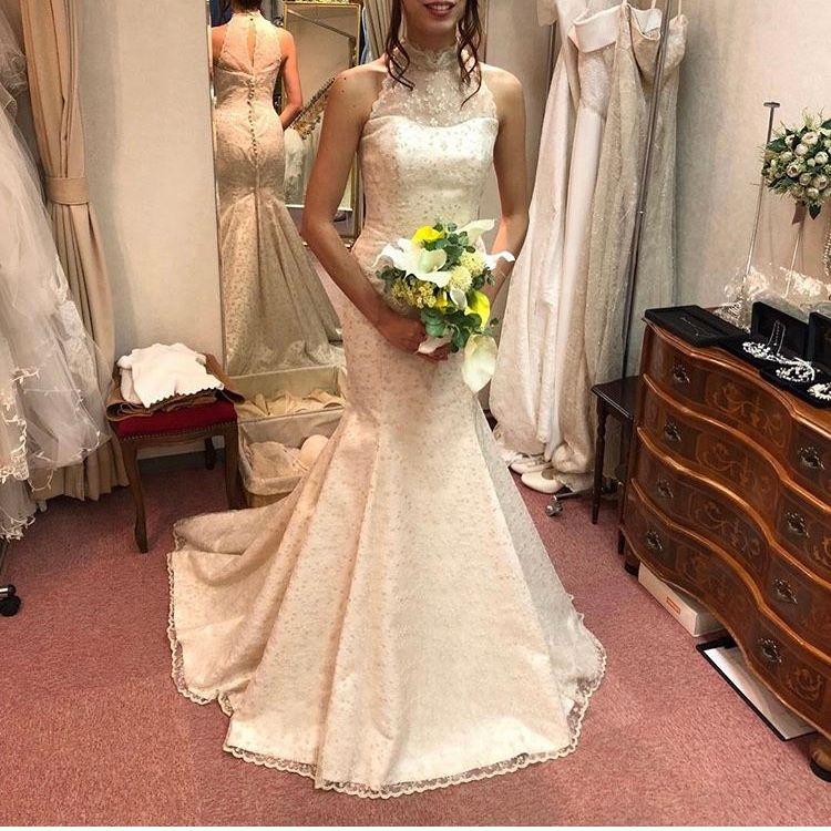 アメリカンスリーブのマーメイドドレス