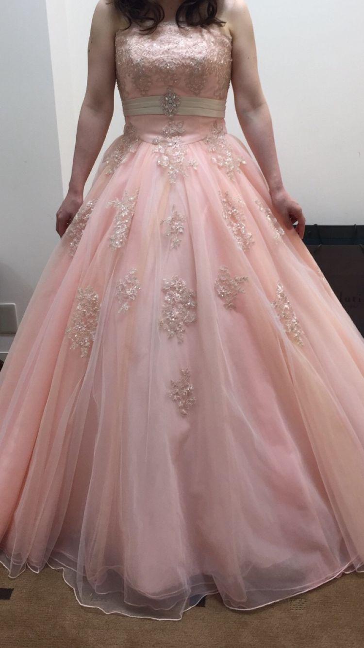 サーモンピンク刺繍ドレス