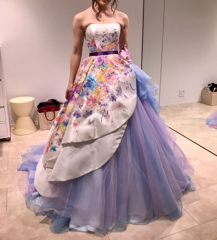 パープル花柄ドレス