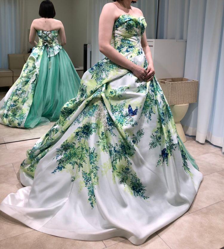 アシンメトリープリントドレス