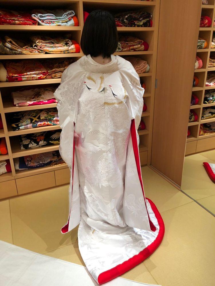 赤ふき+金の刺繍鶴