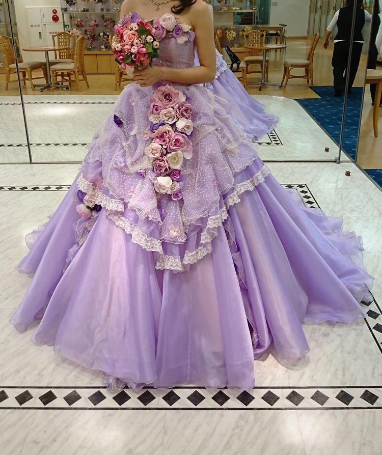 紫のカラードレス