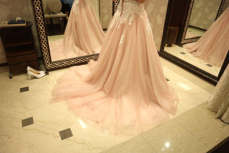 ピンクのAラインドレス