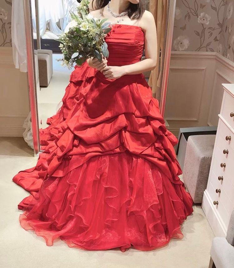 シックな二層赤ドレス