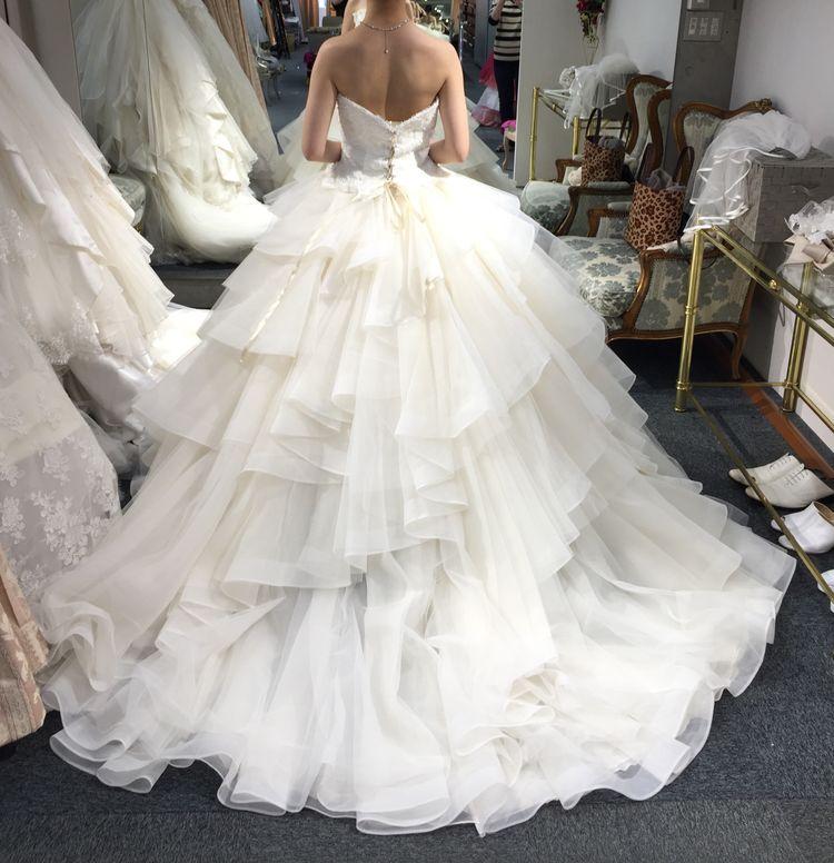 フリルが重なり合う豪華なドレス