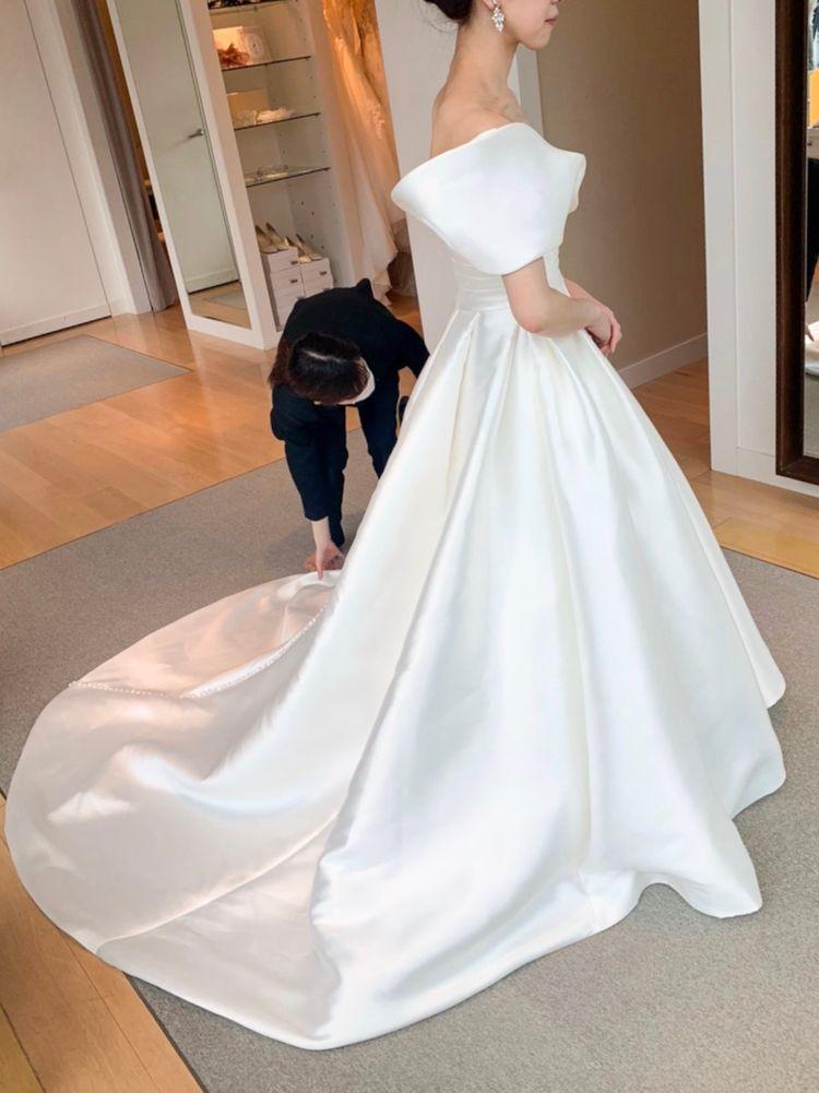 ミカドシルクのワンショルダードレス