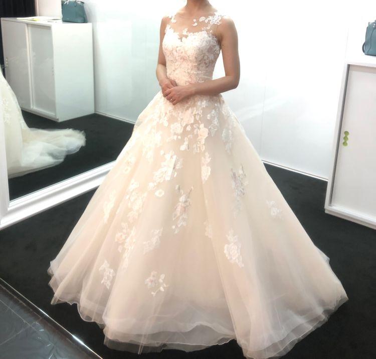 バラの刺繍が綺麗な薄ピンクのドレス