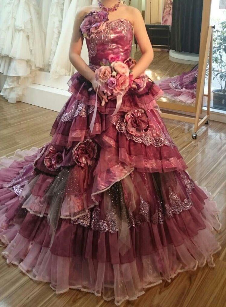 ルビーレッドのカラードレス