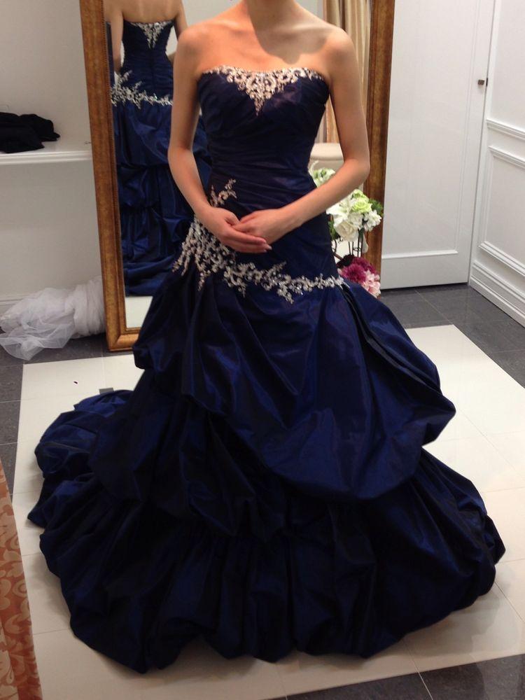 紺色のカラードレス
