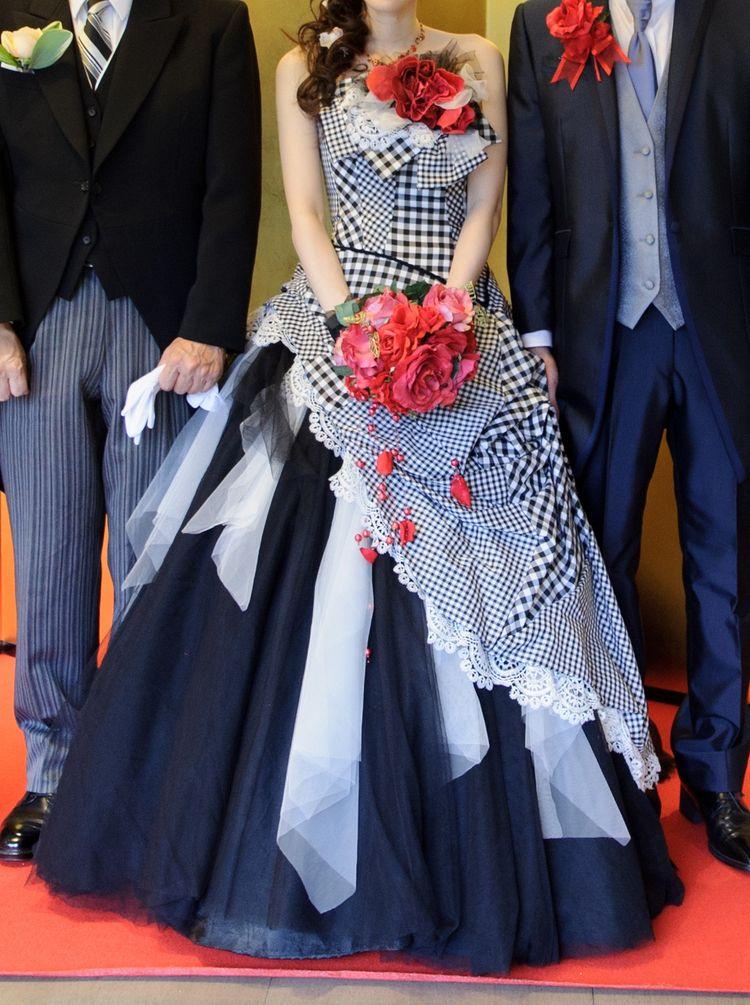 ギンガムチェックのゴシック系ドレス