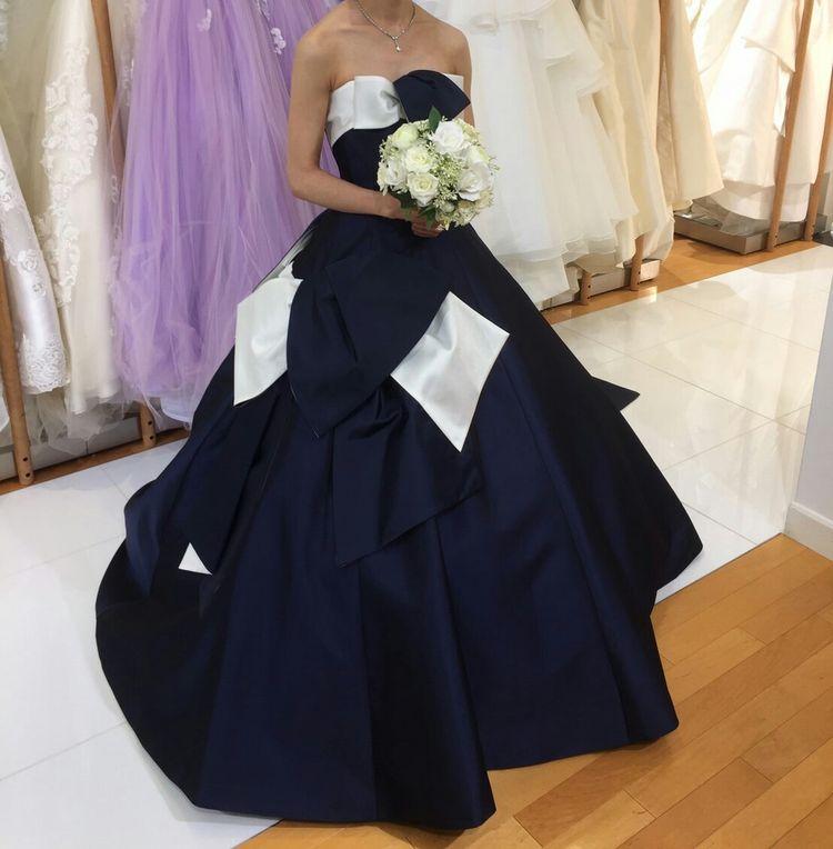 アシンメトリーデザイン紺カラードレス