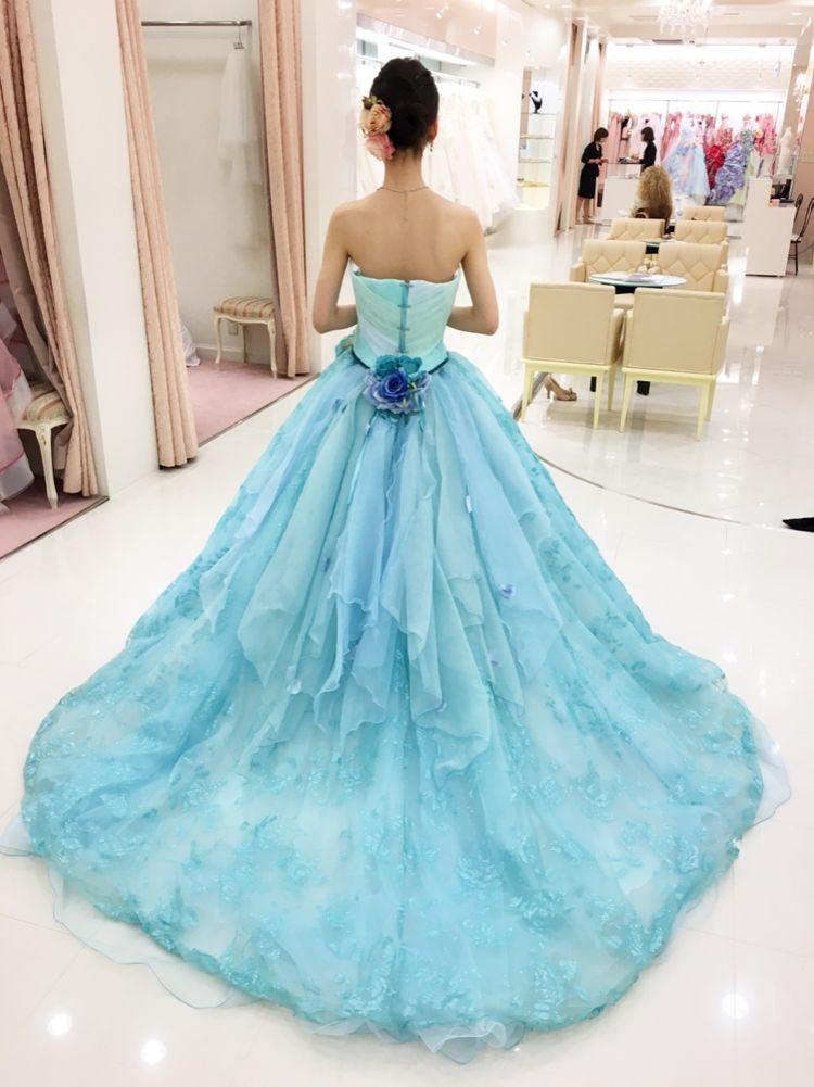 寒色系お花ドレス