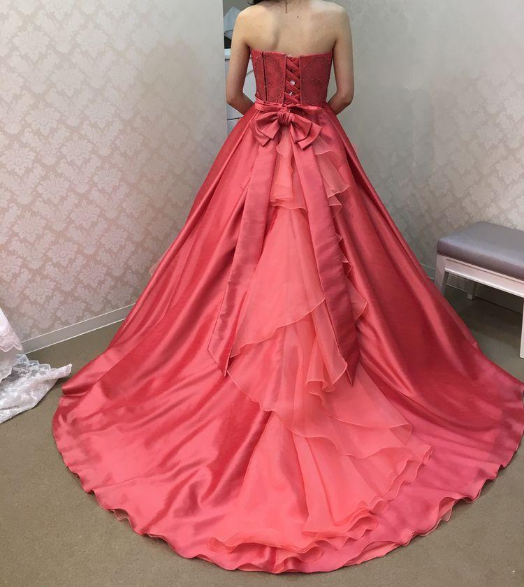 ジルスチュアートのコーラルピンクドレス