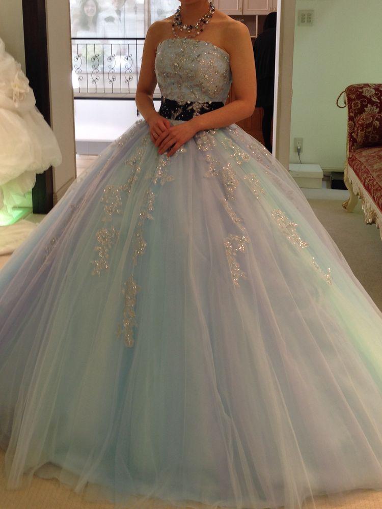 ブルーグリーンパープルのプリンセスドレス