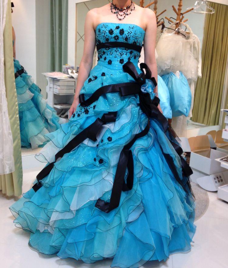 ブルー系カラードレス