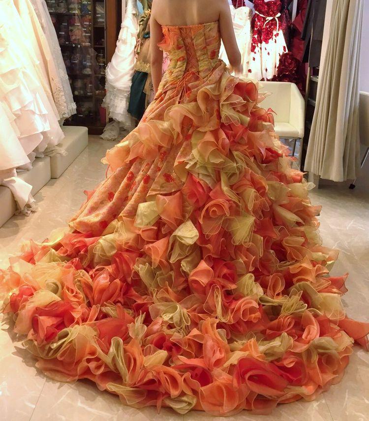オレンジ系カラードレス
