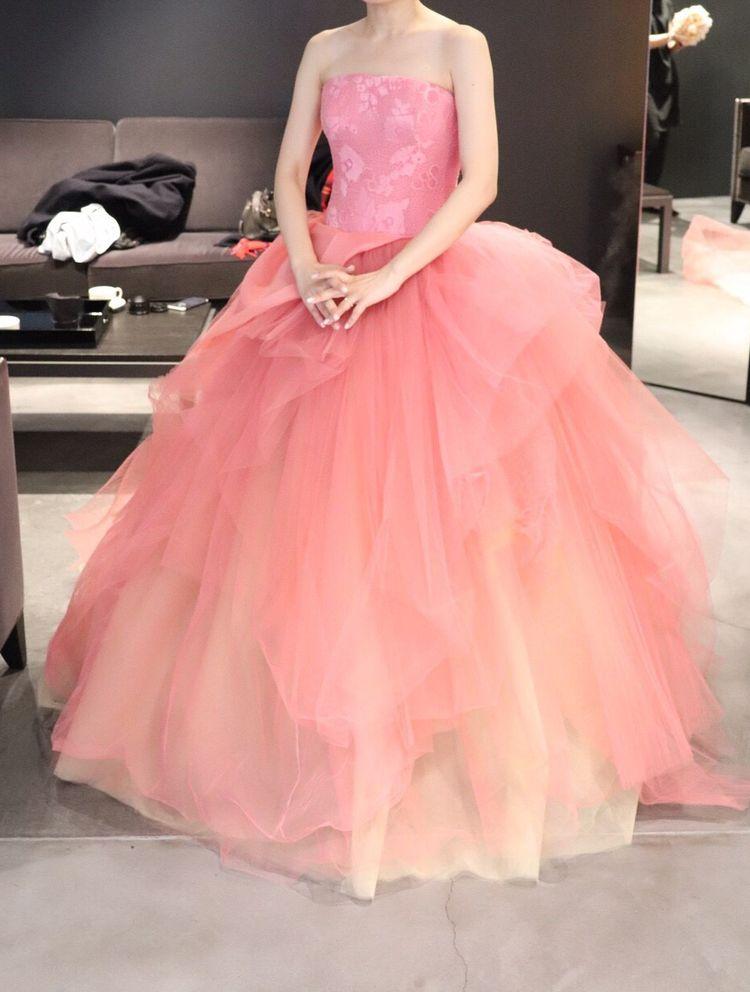 大人ピンクのカラードレス