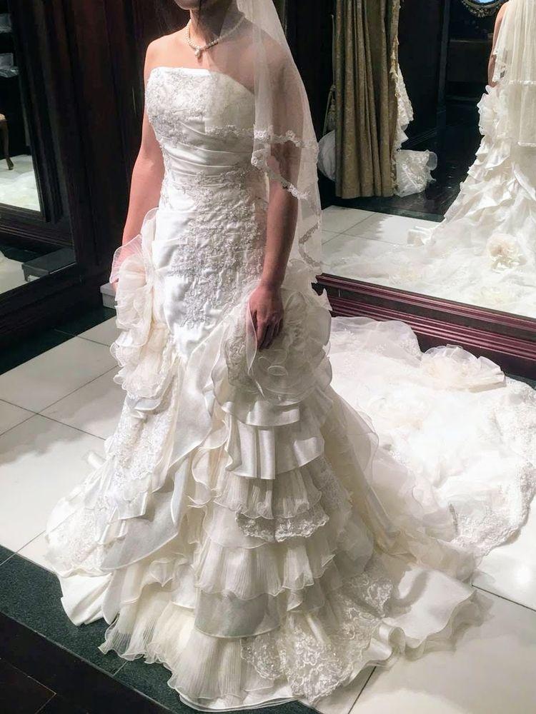 マーメイドとAラインの間をとったみたいなドレス