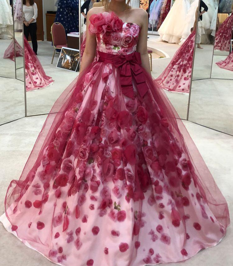 バラ付きカラードレス