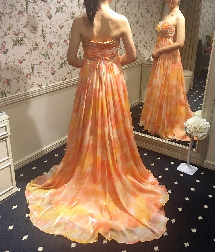 マーブルオレンジドレス