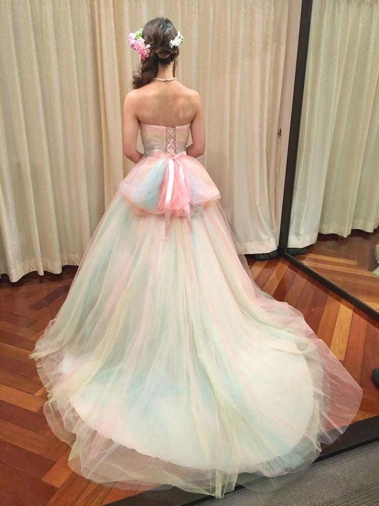 3色チュールのフェアリードレス
