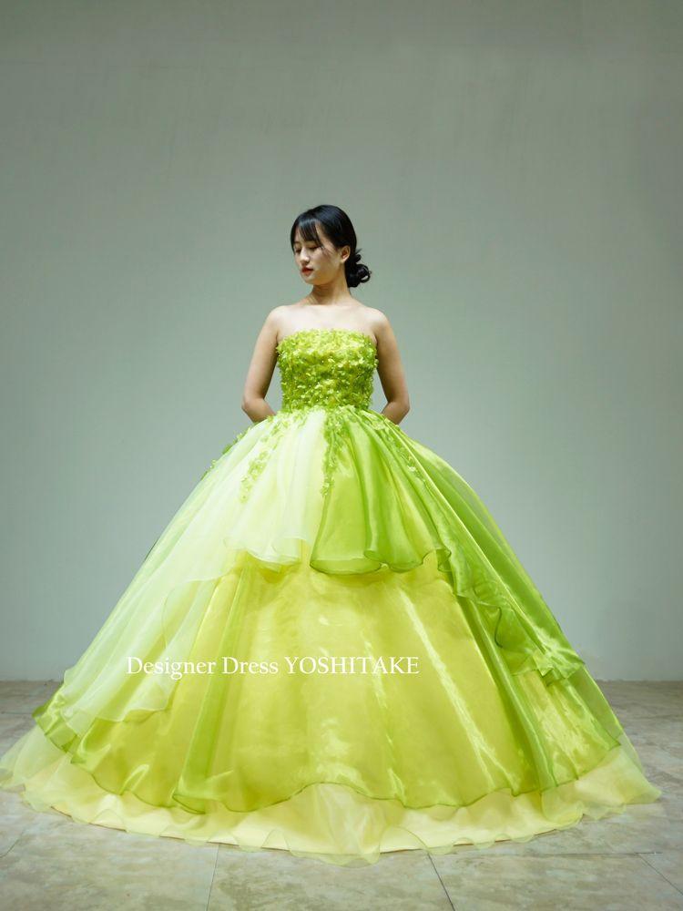 グリーンオーガンジードレス(パニエ付)ウエディング披露宴/前撮り/演奏会ドレス【サンプルドレスは即現物購入可能/オーダーの場合は制作期間3週間から6週間】