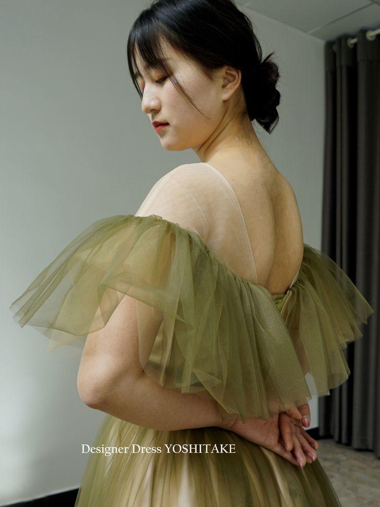 モスグリーンオフショルダーチュールウエディングドレス/披露宴.二次会.演奏会衣装