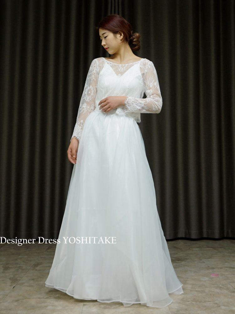 セパレート・カジュアル・ウエディング白ドレス(3点ボレロ・インナー・スカート)【サンプルドレスは即現物購入可能/オーダーの場合は制作期間3週間から6週間】