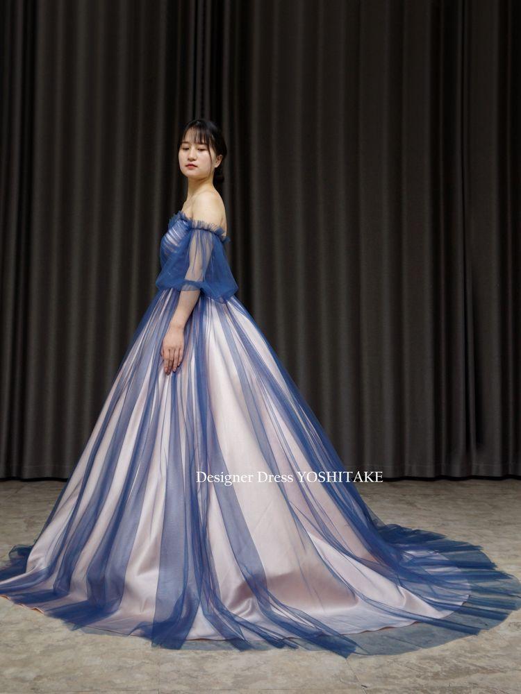 薄めのピンクにブルーのチュールカラーウエディングドレス(パニエ付)披露宴.二次会【サンプルドレスは即現物購入可能/オーダーの場合は制作期間3週間から6週間】