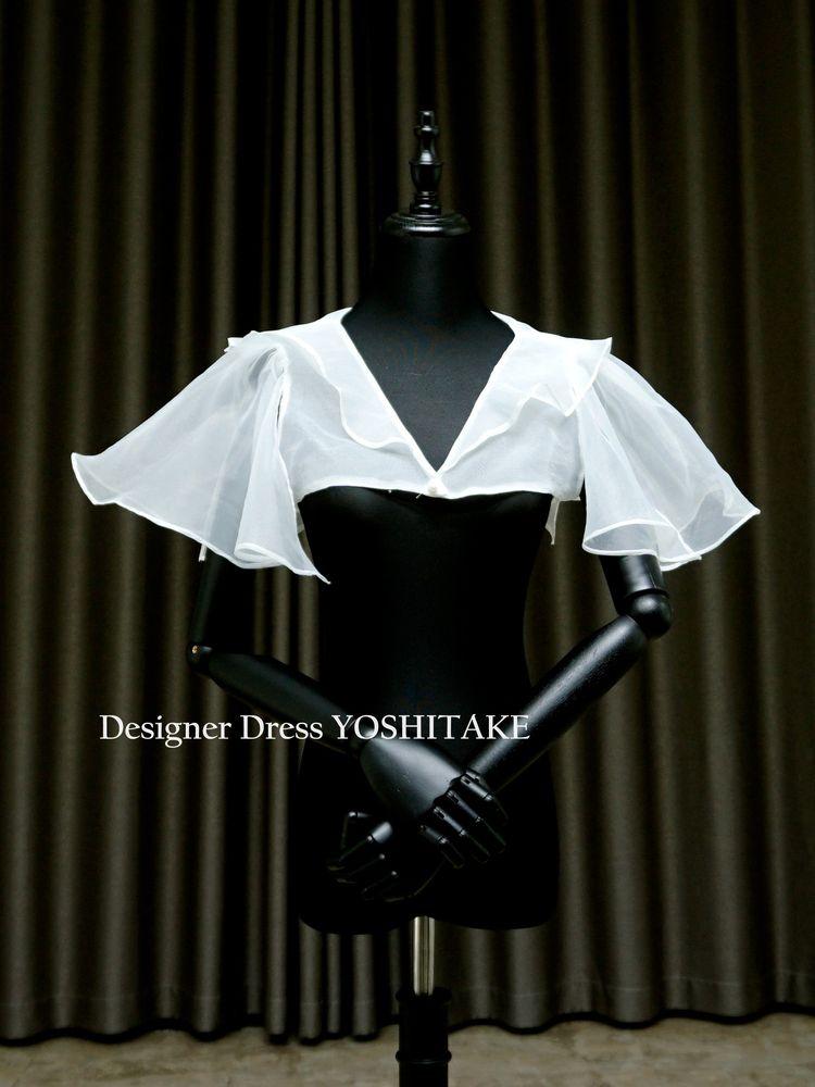 二の腕・肩・背中を可愛らしく見せるワンアイテム.ウエディングドレス用白ストール【サンプルドレスは即現物購入可能/オーダーの場合は制作期間3週間から6週間】