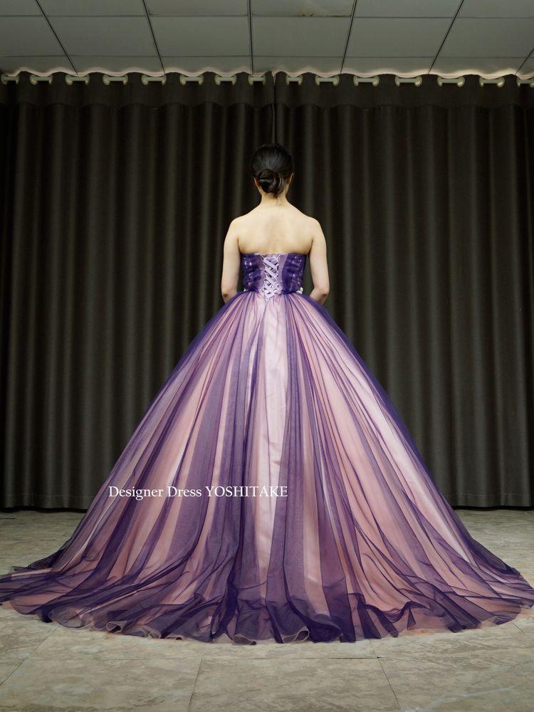 紫とピンクのクリエイティブなウエディングビジュードレス(パニエ付)披露宴/演奏会【サンプルドレスは即現物購入可能/オーダーの場合は制作期間3週間から6週間】