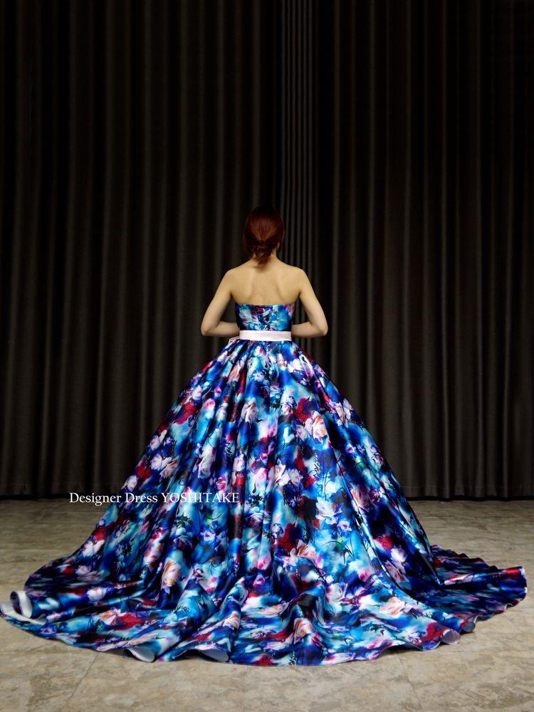 ウエディングカラードレス.ブルー系サテン花柄.お色直し.撮影前撮.演奏会.発表会【サンプルドレスは即現物購入可能/オーダーの場合は制作期間3週間から6週間】