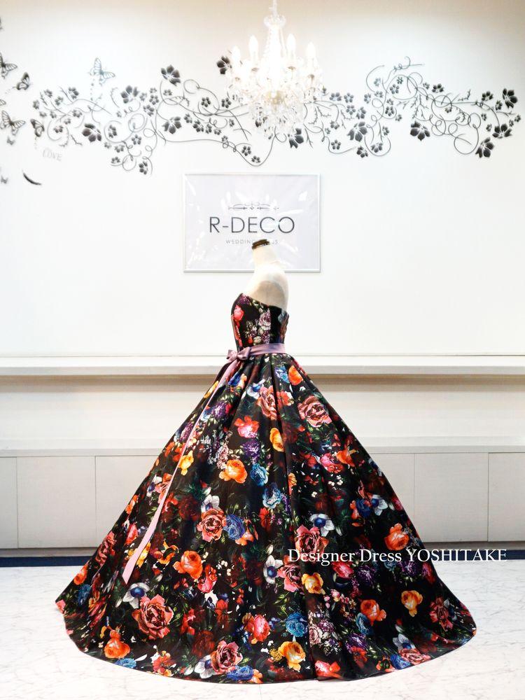 ddf3df1dce13a  オーダー制作 ウエディングドレス 黒ベース花柄ドレス ブライダル二次会 披露宴ドレス