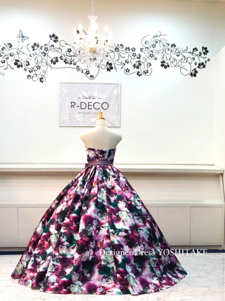 ウエディングドレス(パニエ無料) パープル花柄バージョン2 披露宴/二次会