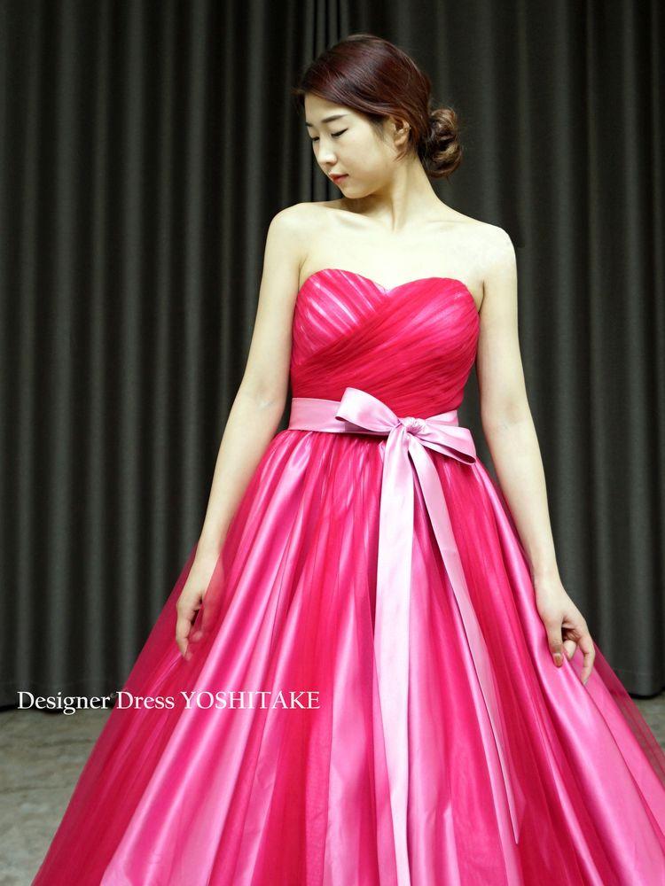 フーシャピンクチュール&くすみピンクサテングラデーションカラードレス(パニエ付)