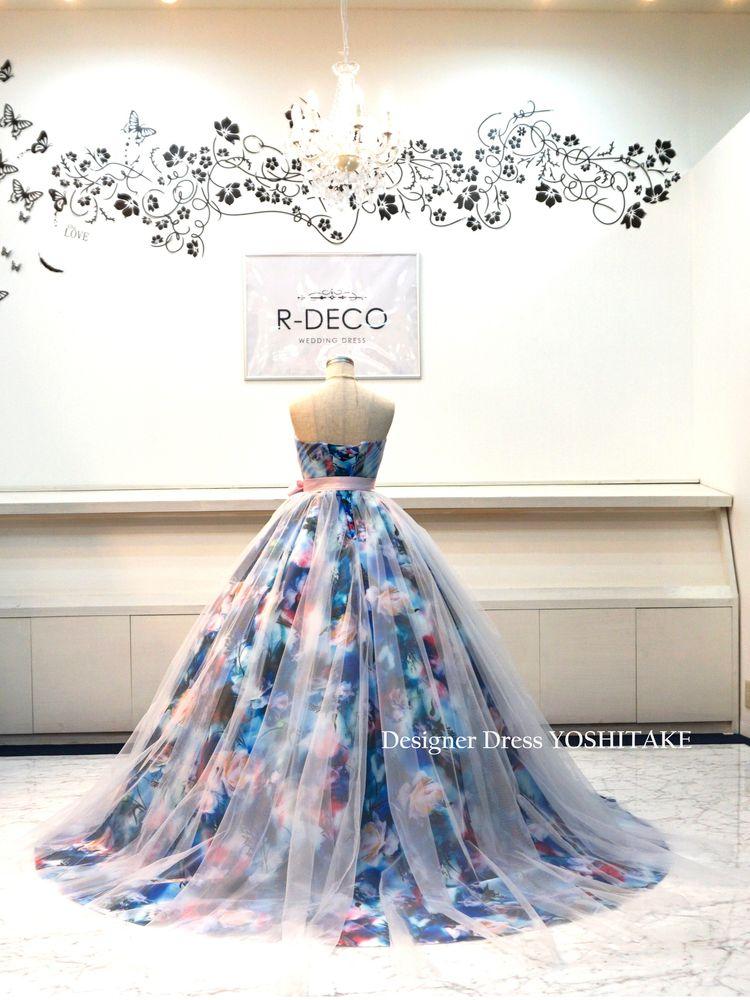 【オーダー制作】ウエディングドレス(パニエ無料) ロングドレーン花柄白チュール 披露宴/お色直し ※制作期間3週間から6週間