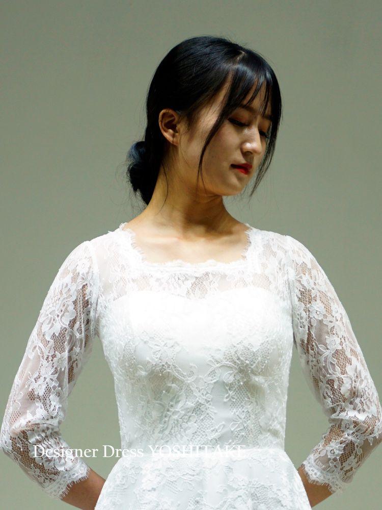 総レーススレンダーライン白ドレス挙式/披露宴/二次会/フォト婚/オンライン婚【サンプルドレスは即現物購入可能/オーダーの場合は制作期間3週間から6週間】