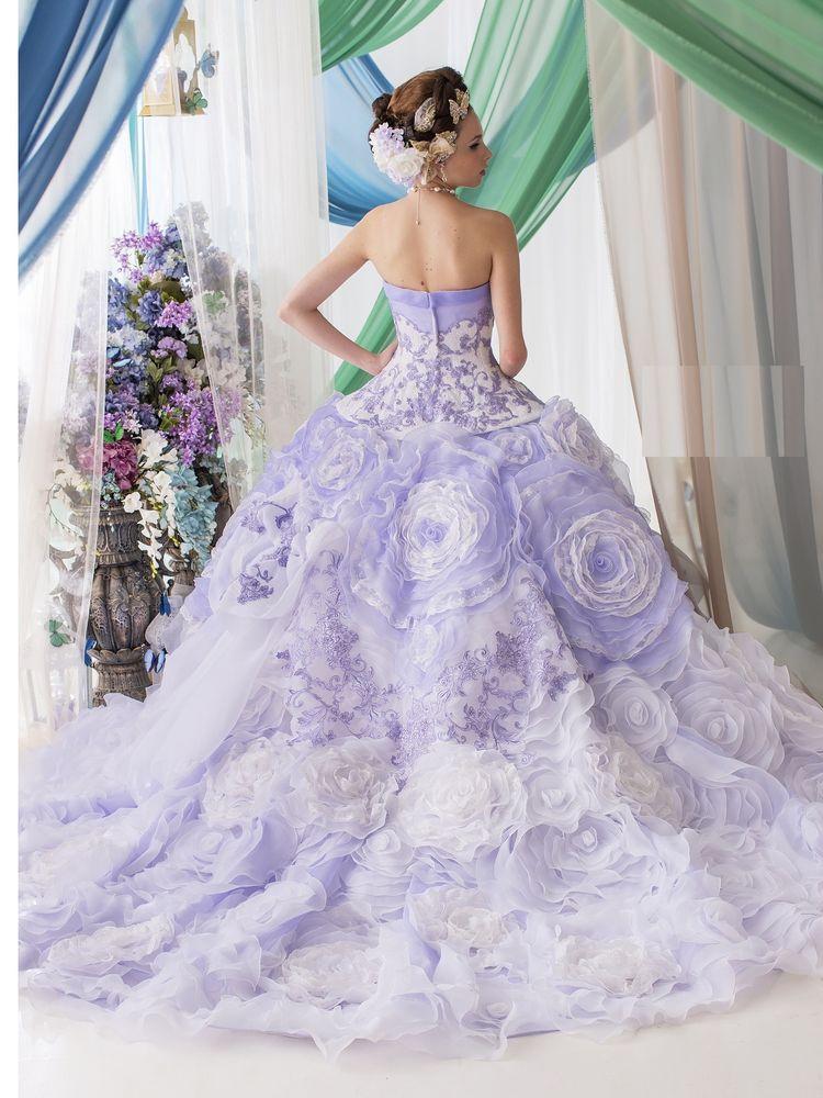 ラベンダ-カラ-のゴージャスなカラードレス